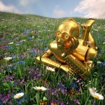Un annoiato C-3PO perso in un prato fiorito