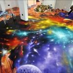 """Un murales """"spaziale"""" sul pavimento"""
