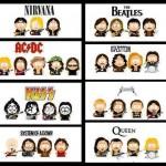 Alcuni gruppi musicali in versione South Park